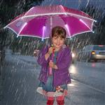 Kinder LED Regenschirm Pink Girl