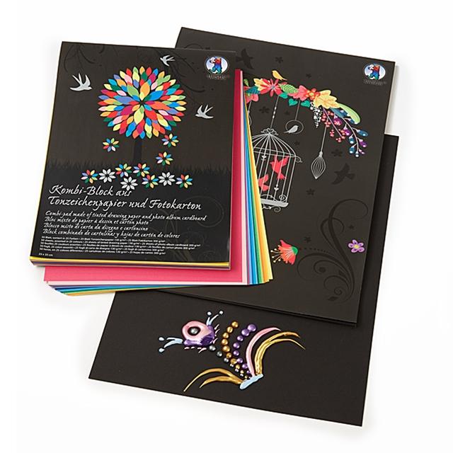 Kreativ Fotokarton farbig und schwarz 60 Blatt