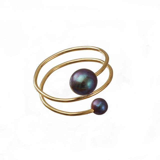 Spiral-Fingerring mit Perlen schwarz