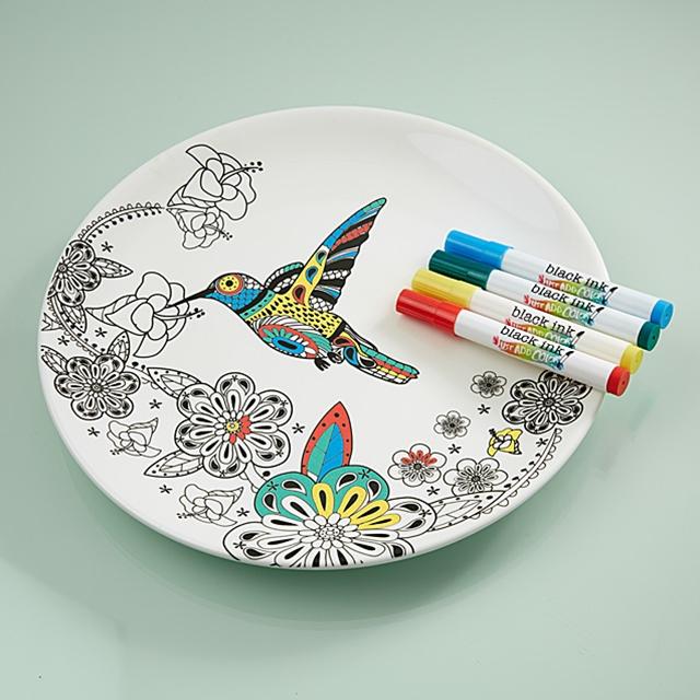 Porzellan Teller zum Bemalen Kolibri