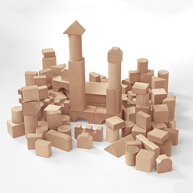 Kinder Kreativ Set Holzbauklötze 100 Stk.
