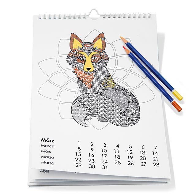 Ausmalkalender Mandala A4