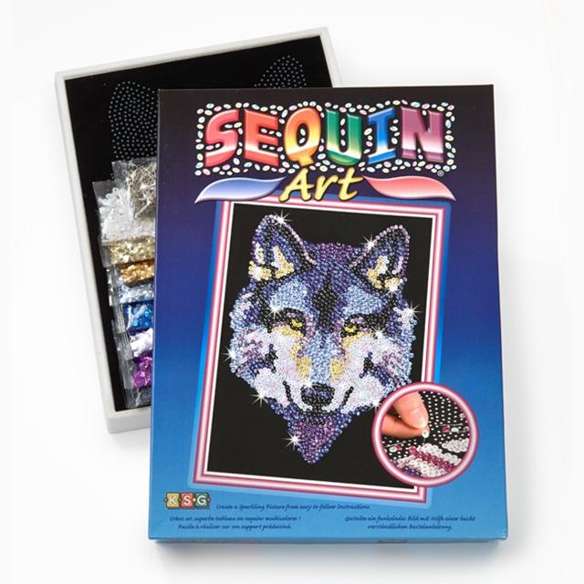 Sequin Art Pailletten Kunst Wolf