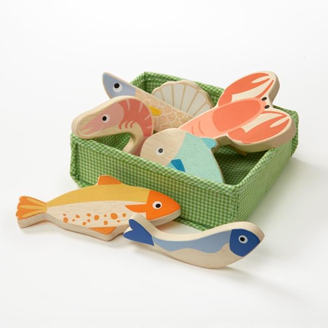 Holz Fische und Meeresfrüchte 8tlg.