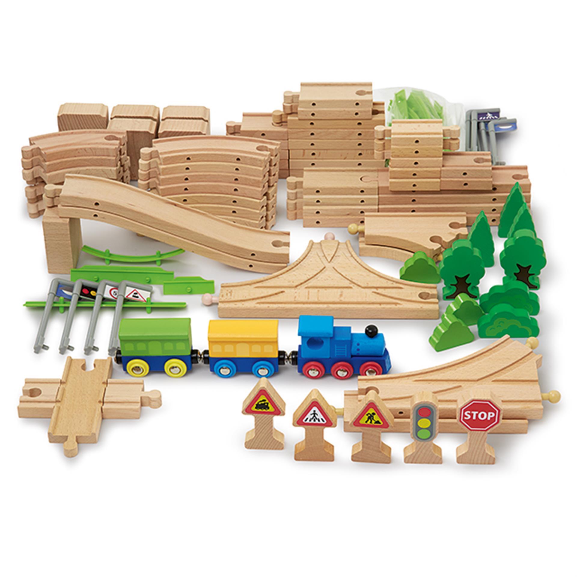 Holzeisenbahn Schienen- und Strassenset