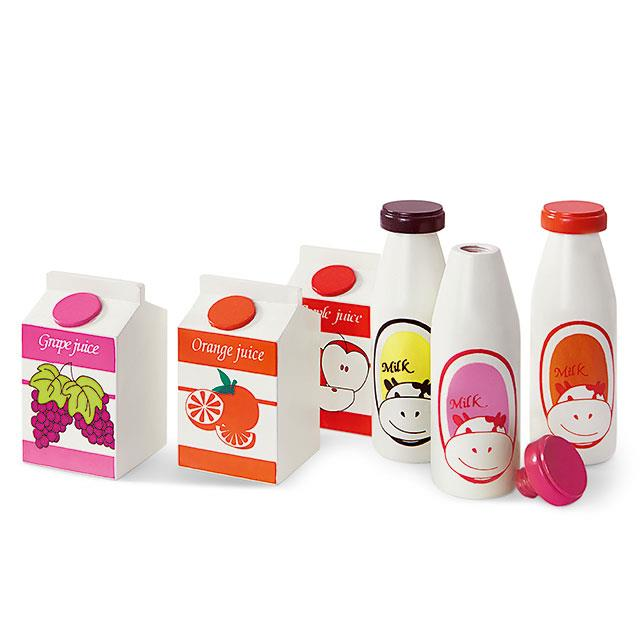 Kaufladen Getränke Saft und Milch 6 Stk.