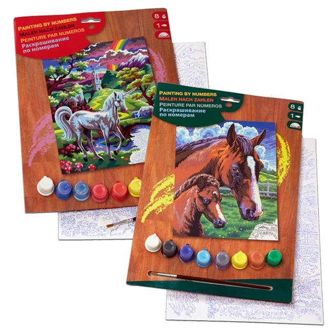 Malen nach Zahlen Pferde und Einhorn