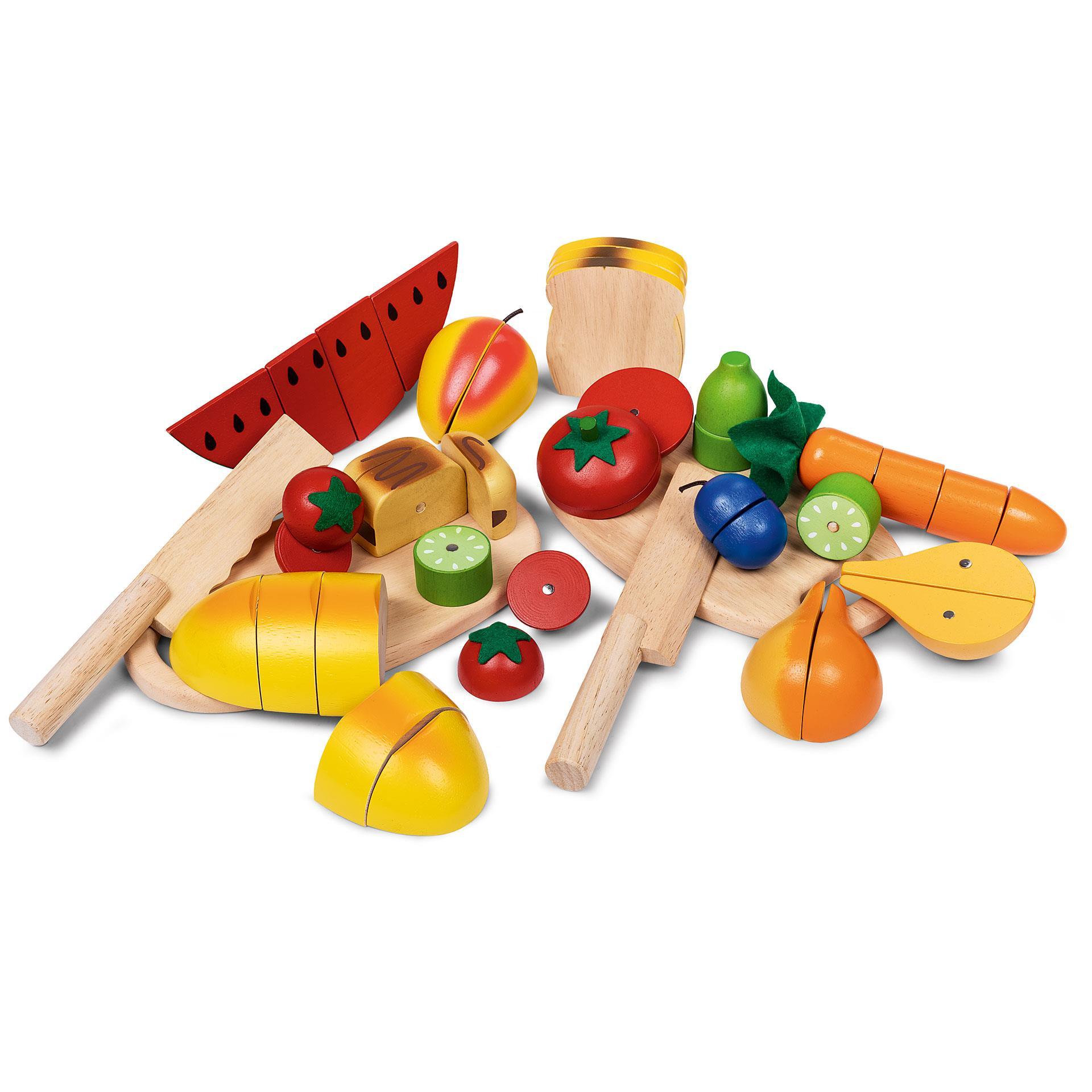 Holz Brot, Gemüse und Früchte Mischung 17tlg.