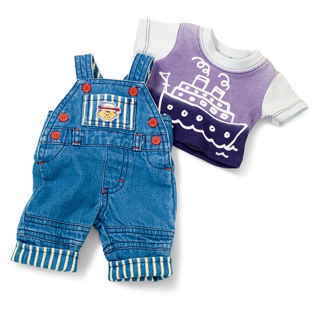 Puppen Jeans Latzhosen Set BL