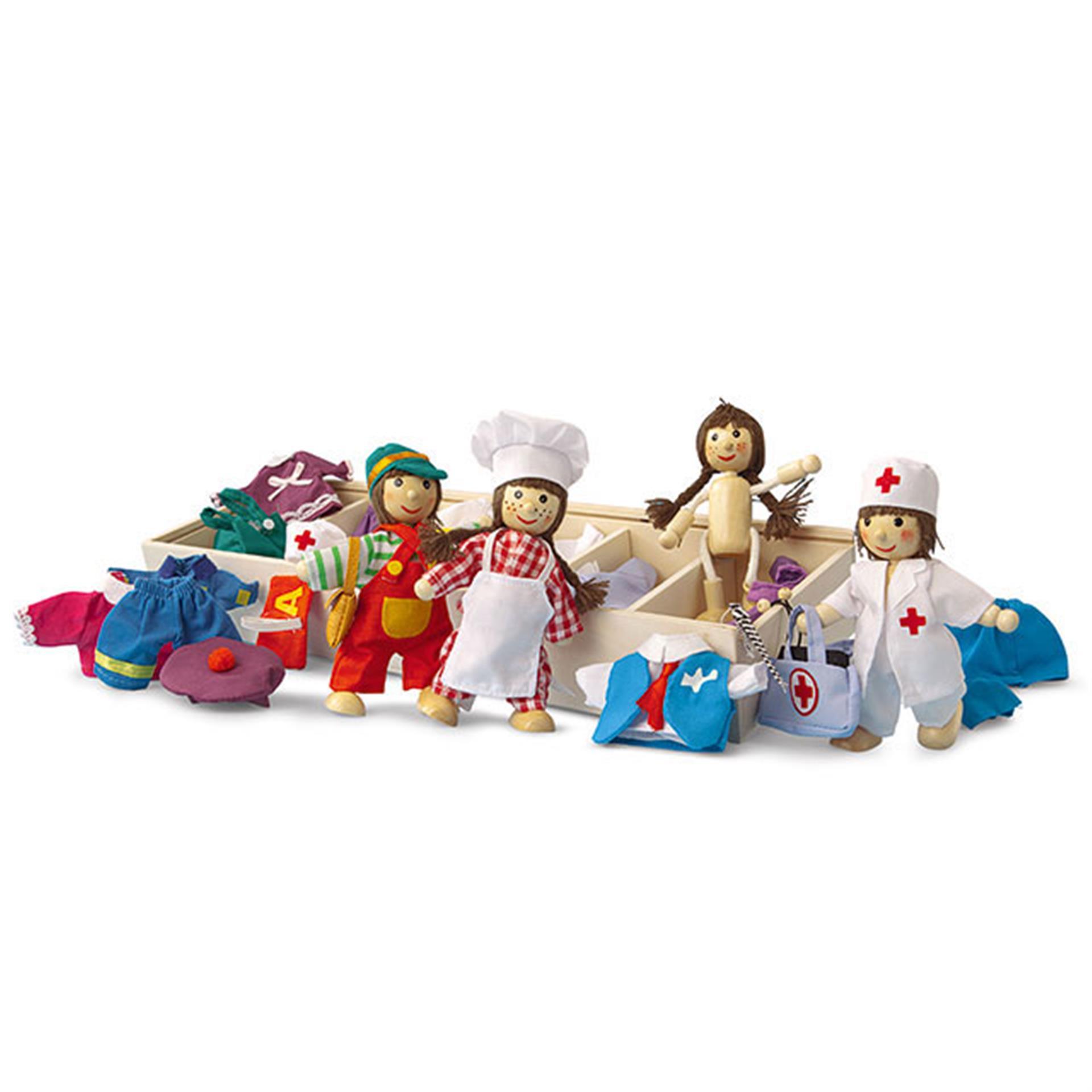 Holzspielzeug Biegepuppen und Kleider Set