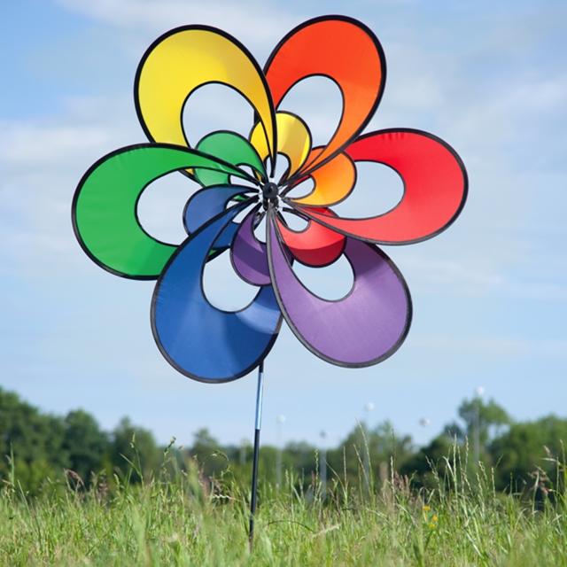 Doppel Blumenwindrad 100 cm