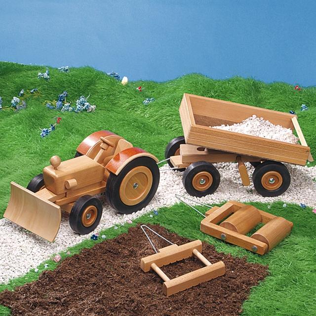 Spiel Holz Traktor mit 4 Anhänger
