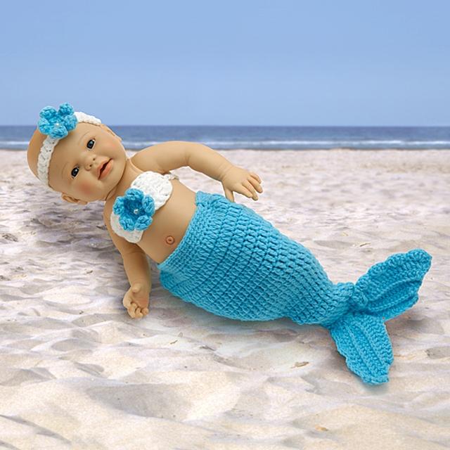Puppen Meerjungfrau Strickkostüm 3tlg. BL