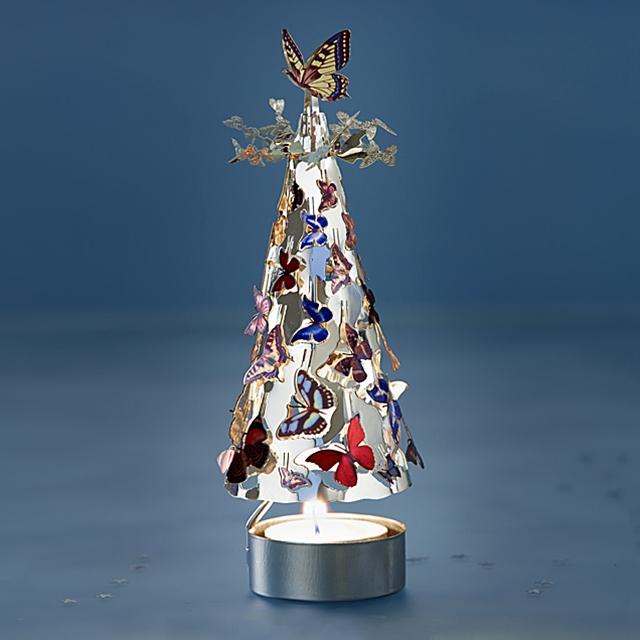 Teelichtspiel Baum mit bunten Schmetterlingen