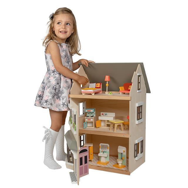 Idyllisches Puppenfamilienhaus