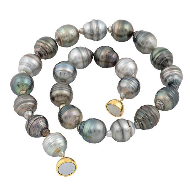Tahiti Südsee Perlenkette Circle 14-15 mm