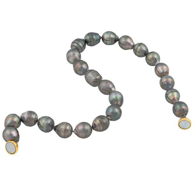 Tahiti Südsee Perlenkette Barock Silber 14-15 mm