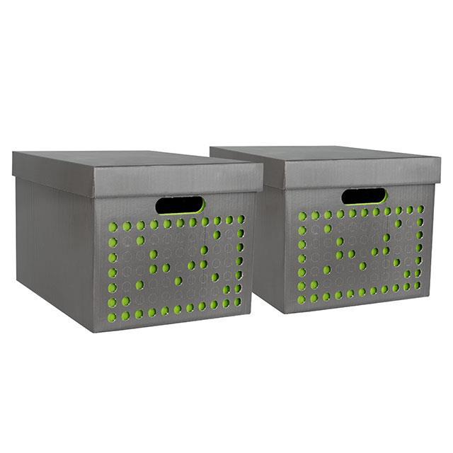 Aufbewahrungsboxen 2 Stk. Grau/Grün