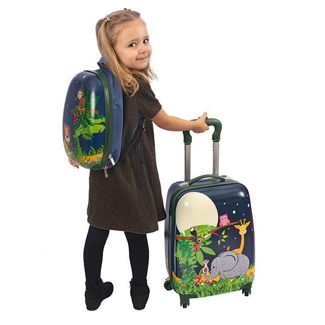 Kinderkoffer 4 Rollen Jungle World mit Rucksack