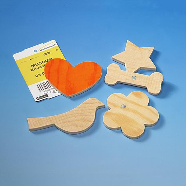 Magnete Holz zum Bemalen 5 Stk.
