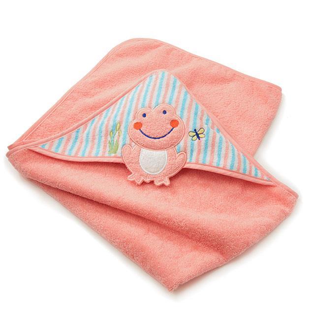 Kapuzen Badetuch Pink Frog