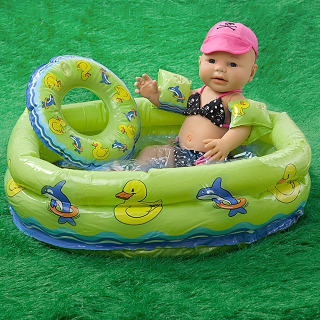 Puppen Schwimmset mit Planschbecken 3tlg.