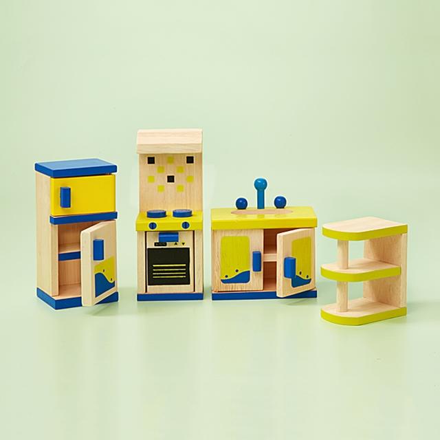 Puppenhausmöbel Küchen Ausstattung 4tlg.