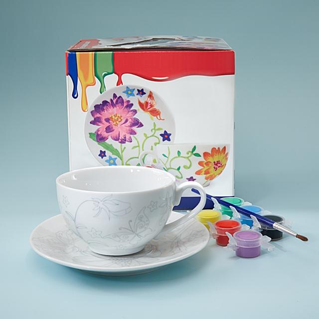 Teetasse mit Untertasse zum Bemalen