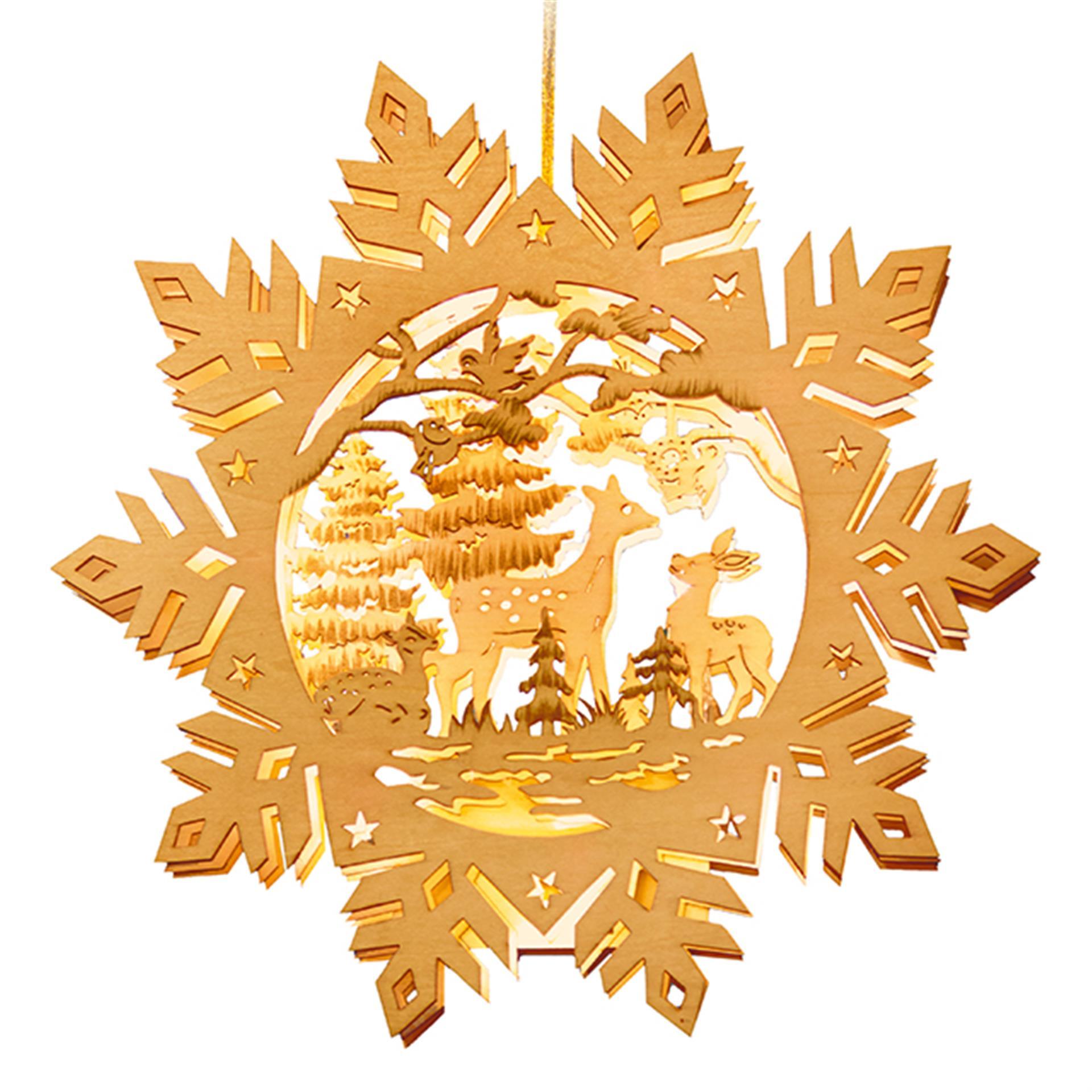 Weihnachtsleuchtbild Winter Rehzauber