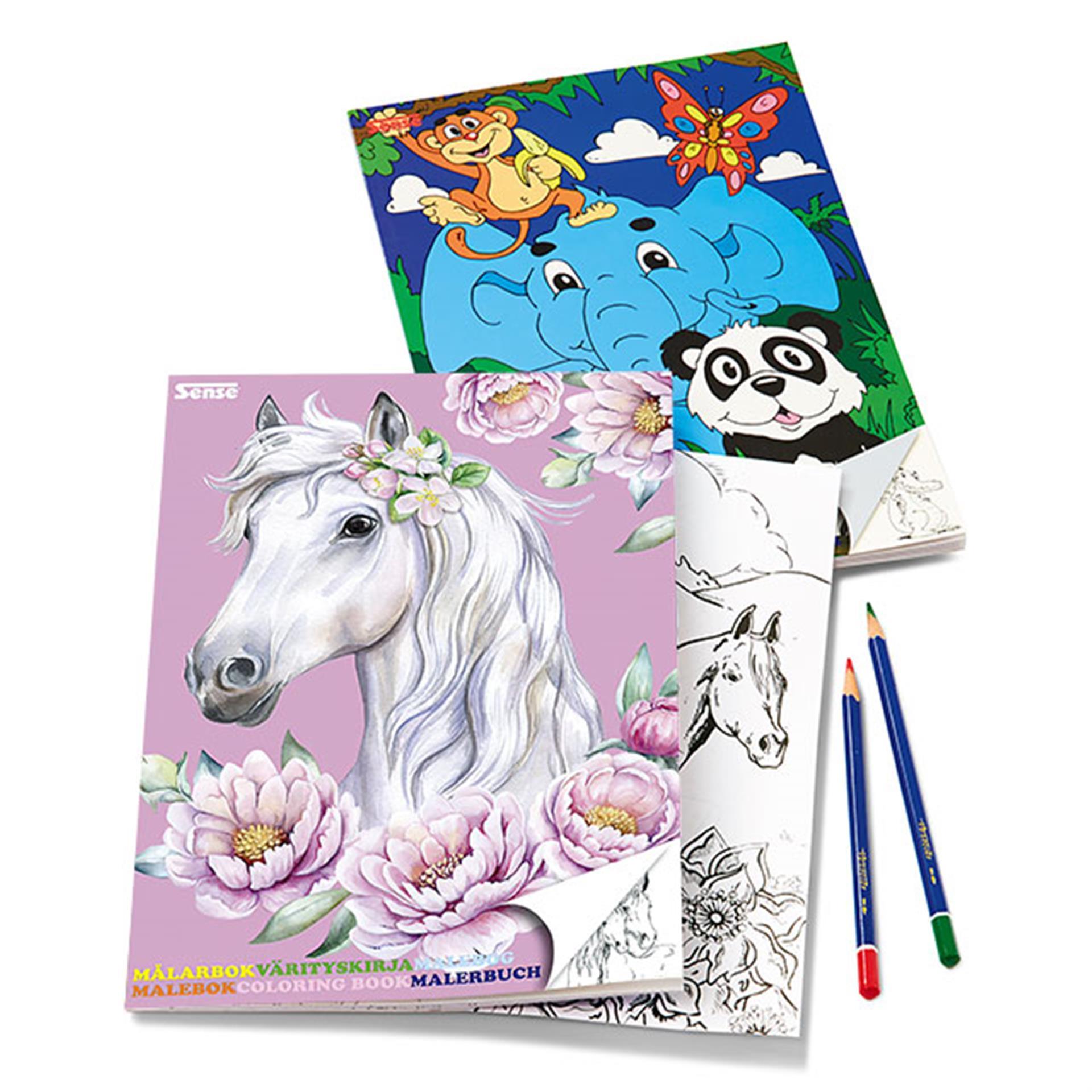 Malbuch 2 Stk. Tiere und Pferde