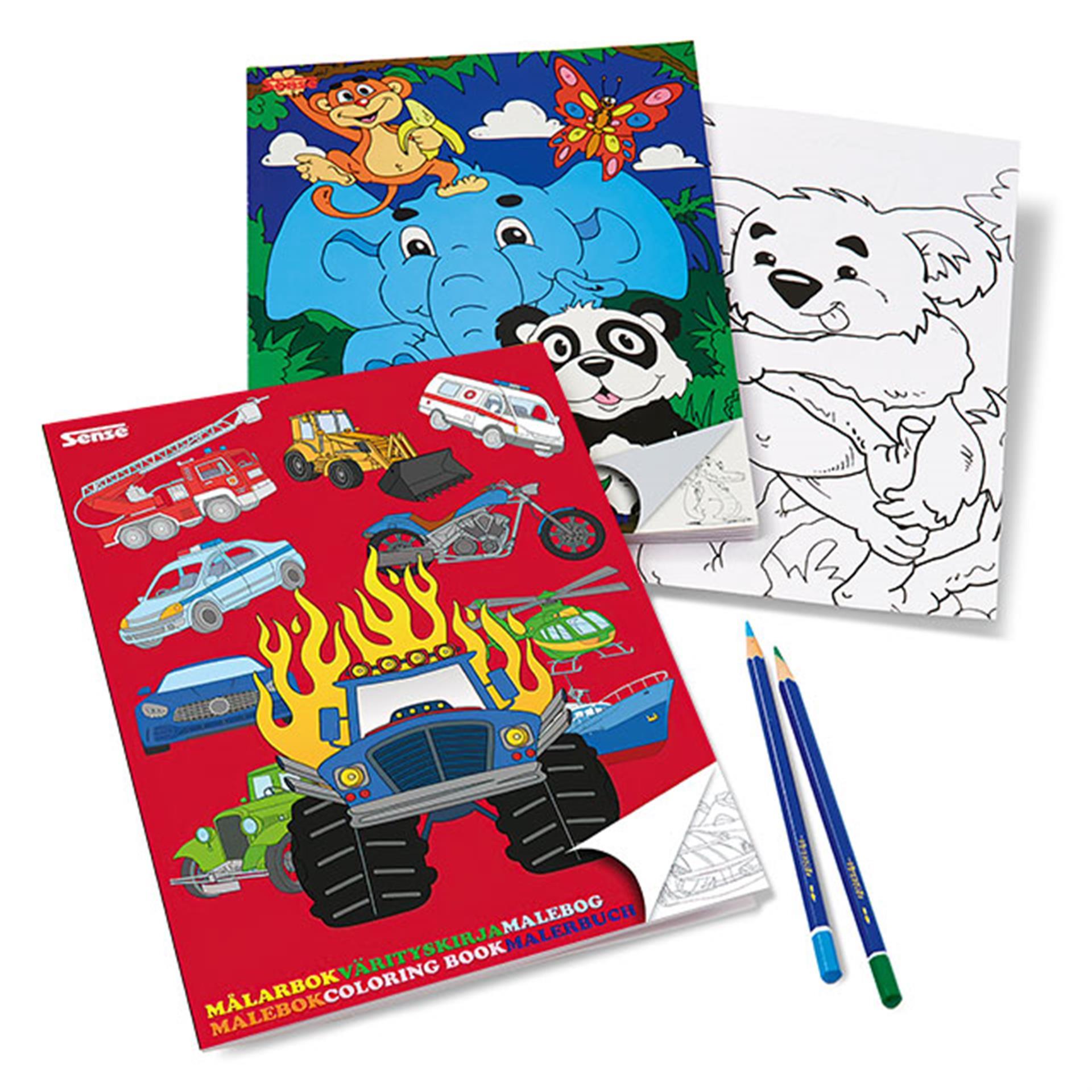 Malbuch 2 Stk. Tiere und Fahrzeuge