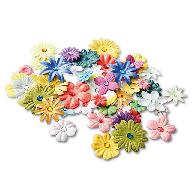 3D Papier Blumen Stickers 48 Stk.