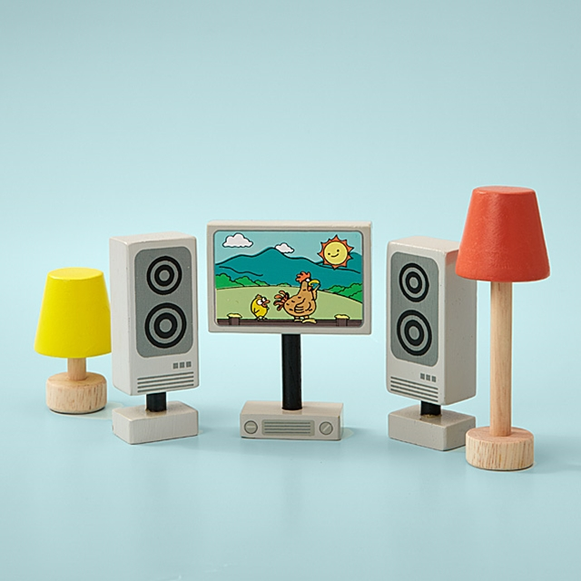 Puppenhausmöbel Multimedia Ausstattung 5tlg.