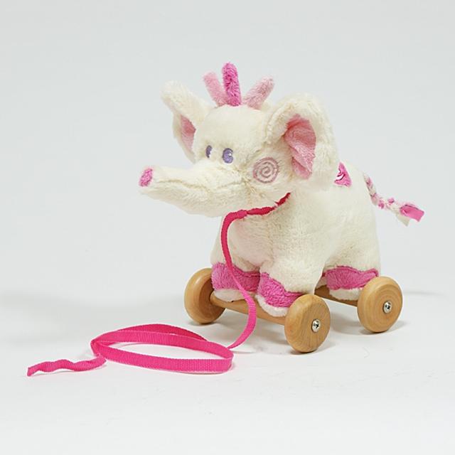 Nachziehtier Plüsch Elefant rosa